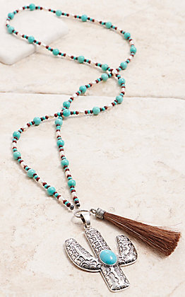 Cowboy Collectibles White Pearl & Turquoise Beaded Cactus Tassel Necklace
