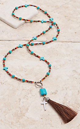 Cowboy Collectibles Brown Pearl & Turquoise Beaded Cross Tassel Necklace