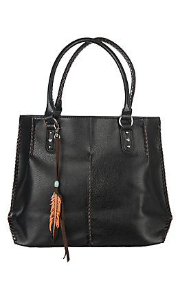 Blazin Roxx Black with Tan and Feather Accents Teagan Concealed Carry Tote
