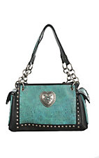 Blazin Roxx Black Satchel with Faux Turquoise Crocodile with Heart Concho Western Purse