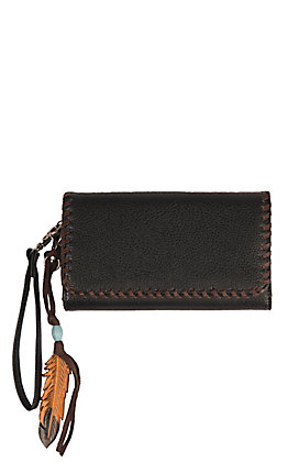 Blazin Roxx Black with Tan and Feather Accents Teagan Wristlet Wallet