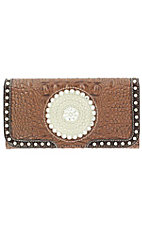 Nocona Ladies Brown Faux Gator with Round Concho and Silver Crystals Wallet