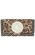 Nocona Ladies Brown Leopard Print with Round Concho and Silver Crystals Wallet