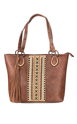 Blazin Roxx Laney Brown With Scalloped Laced Cutout Detail Concealed Weapon Tote
