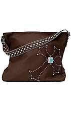 M&F Blazin Roxx Brown Faux Leather w/ Turquoise Accented Cross Purse