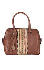 Blazin Roxx Women's Brown w/ Tan & Turquoise Center Accent Concealed Carry Handbag