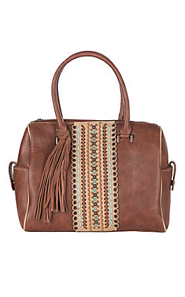 Blazin Roxx Women's Brown with Tan & Turquoise Center Accent Concealed Carry Handbag
