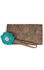 Blazin Roxx Women's Brown Willow with Turquoise Stone and Flower Clutch