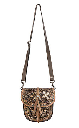 Blazin Roxx Women's Cora Tooled Saddlebag Concealed Carry Cross Body