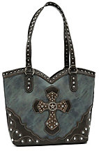 Blazin Roxx Ladies Blue Marble with Brown Layered Western Cross & Crystals Bucket Bag