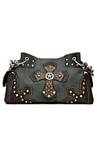 Nocona Blue and Brown Faux Leather w/ Cross & Star Concho Satchel