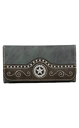 Nocona Blue Faux Leather with Star Concho Wallet