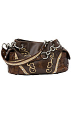Blazin Roxx Ladies Brown w/ Tan Swirls & Crystals Satchel