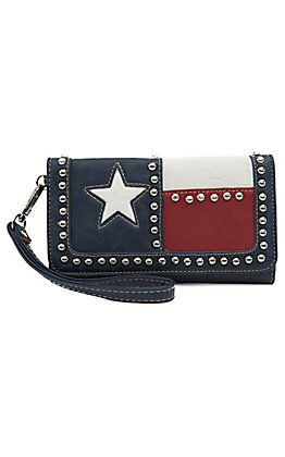 Blazin Roxx Ladies Texas Flag with Studs Flap Wallet