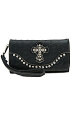 Blazin Roxx Ladies Black Ostrich Print w/ Cross & Crystals Flap Wallet