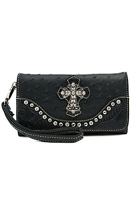 Blazin Roxx Ladies Black Ostrich Print with Cross & Crystals Flap Wallet