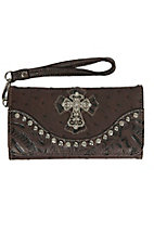 Blazin Roxx Ladies Brown Ostrich Print with Crystal Cross Wallet