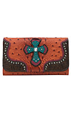 Blazin Roxx Women's Orange Gator & Ostrich Print with Cross Center Flap Wallet
