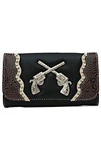 Blazin Roxx Women's Black with Crystal Pistols Flap Wallet