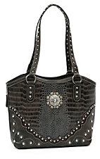 Blazin Roxx Ladies Brown & Grey Gator Print with Crystal Concho Bucket Bag