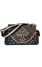 Blazin Roxx Ladies Brown & Black Tooled with Cross & Crystals Satchel