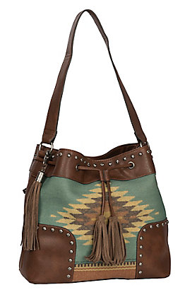 Blazin Roxx Women's Zapotec Brown & Aztec Concealed Weapon Bucket Bag