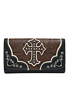 Blazin Roxx Ladies Brown & Black Tooled with Cross Flap Wallet