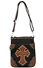 Blazin Roxx Black with Brown Tooled Cross Messenger Bag