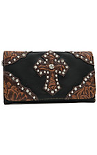 Blazin Roxx Ladies Black with Brown Tooled Cross Flap Wallet