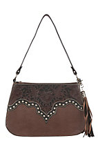 Blazin Roxx Brown May w/ Tooled Leather and Conchos Shoulder Bag