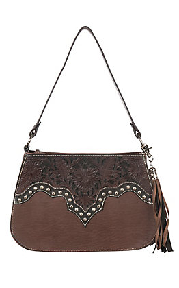 Blazin Roxx Brown May with Tooled Leather and Conchos Shoulder Bag