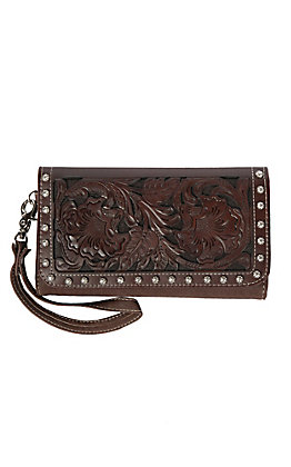 Blazin Roxx Dark Brown May Clutch Ladies Trifold Wallet