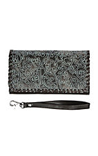 Blazin Roxx Brown with Gunmetal Floral Design Western Clutch