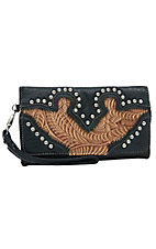 Blazin Roxx Ladies Tan Floral Embossed with Black Trim & Studs Flap Wallet