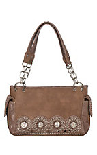 Blazin Roxx Rhianna Medium Brown With Stud and Cutout Detail Concealed Weapon Satchel