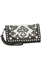 Blazin Roxx Ladies Cream Faux Cowhide with Brown Cross Overlay & Crystals Flap Wallet