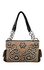Blazin Roxx Women's Brown with Floral Stitched Black Trim and Crystal Accent Satchel