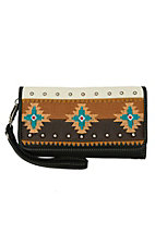 Blazin Roxx Brown, Tan and Black with Southwest Embroidery Flap Wallet