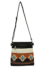 Blazin Roxx Brown, Tan and Black with Southwest Embroidery Faux Leather Crossbody Purse