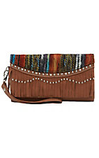 Blazin Roxx Ladies Brown Southwest with Fringe, Studs & Crystals Flap Wallet