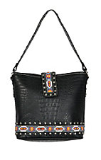 Blazin Roxx Ladies Black Croc Print w/ Aztec Beads Shoulder Bag