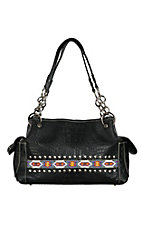 Blazin Roxx Women's Black Croc Print with Aztec Beads & Studs Satchel