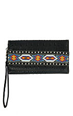 Blazin Roxx Women's Black Croc Print with Aztec Beads & Studs Wallet