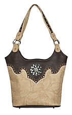 Blazin Roxx Women's Tan Floral Print with Brown Trim & Rhinestone Concho Shoulder Bag