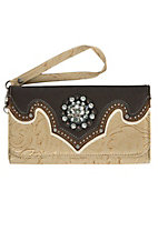 Blazin Roxx Women's Tan Floral Print with Brown Trim & Rhinestone Concho Wallet