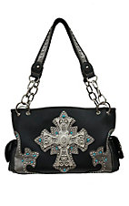 Blazin Roxx Women's Black with Silver Trim and Crystal Accent Cross Satchel