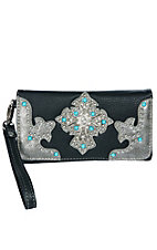 Blazin Roxx Women's Black and Silver Leather with Turquoise Studded Concho Cross with Rhinestones