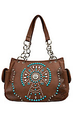 Blazin Roxx Women's Brown with Tooled Trim and Crystal with Turquoise Accent Cross Satchel