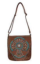 Blazin Roxx Women's Brown with Tooled Trim and Crystal with Turquoise Accent Cross Purse
