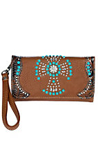 Blazin Roxx Women's Brown Leather with Turquoise and Studded Cross with Rhinestones